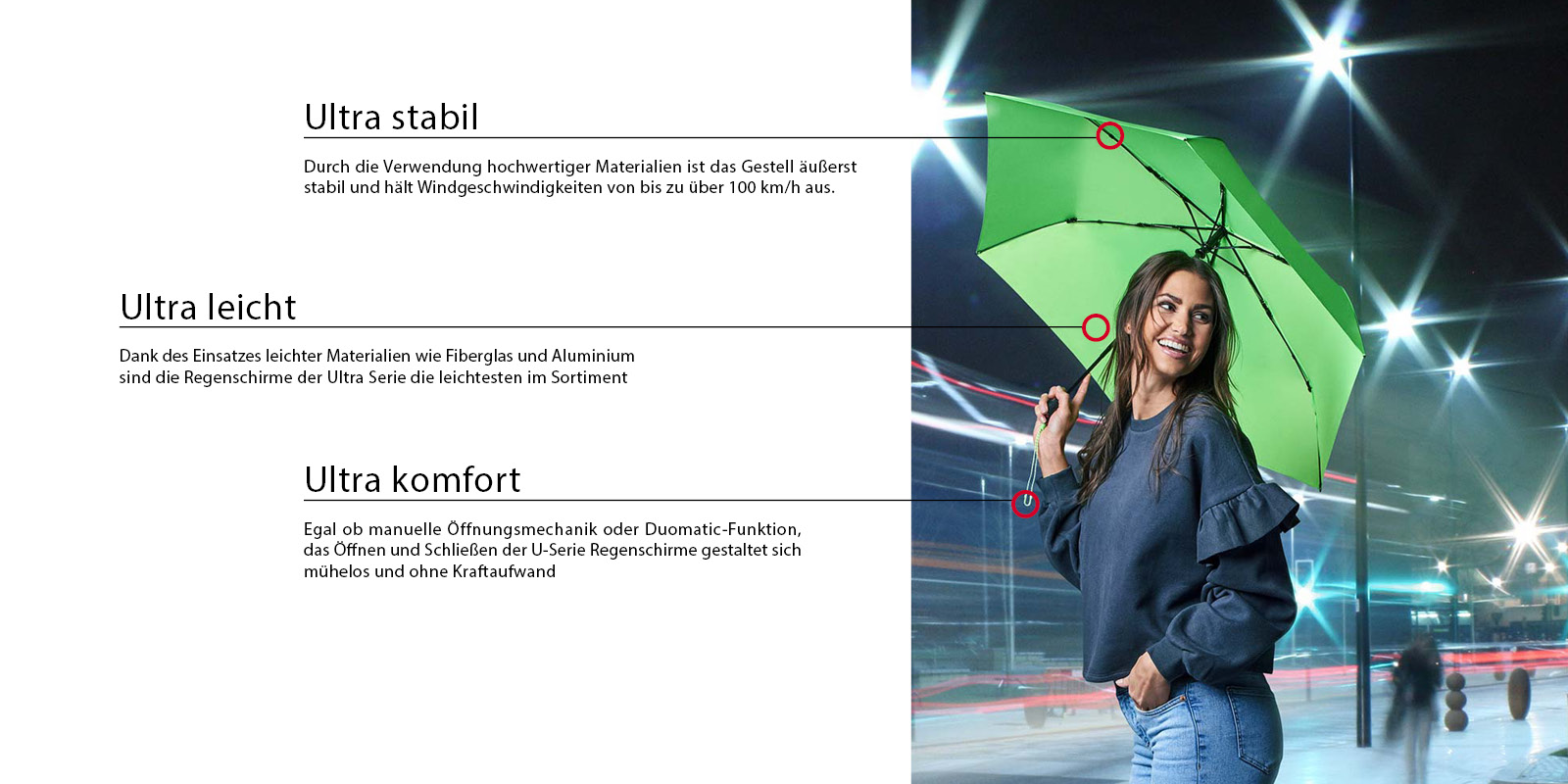 Sehr leichter grüner Knirps Regenschirm
