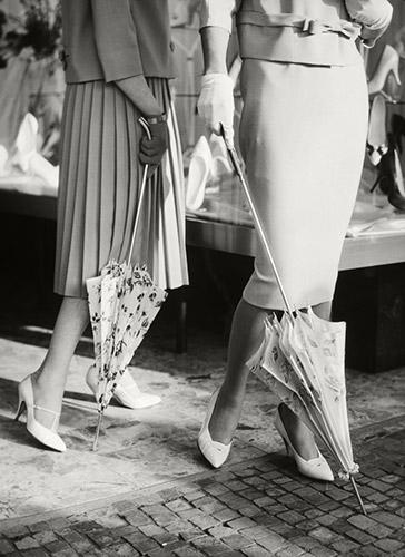 Ältere Knirps Damenschirme in weiß mit Mustern